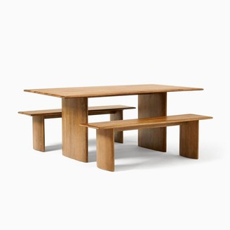 "west elm Anton Solid Wood Dining Table (72"") & 2 Bench Set"