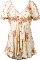 Twin-Set floral lace trim tea top - women - Viscose - 44