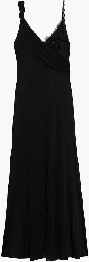 Emilio Pucci Wrap-effect Embellished Lace-paneled Jersey Maxi Dress