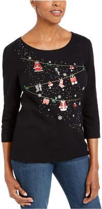 Karen Scott Embellished Holiday Top