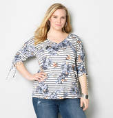 Avenue Floral Stripe French Terry Top