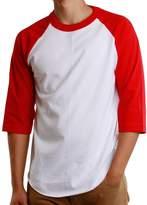 Paris Says Men's Athletic 3/4 Raglan Sleeve Plain Baseball Jersey T Shirt (, White/Red)