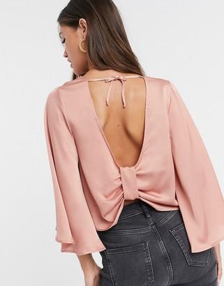 ASOS DESIGN satin kimono sleeve top with knot back detail in dark blush