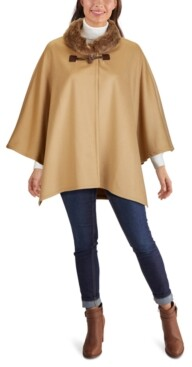 Jones New York Faux-Fur-Collar Cape