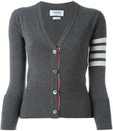 Thom Browne V-Neck Cardigan With White 4-Bar Stripe In Medium Grey Cashmere