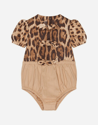 Dolce & Gabbana Romper Suit In Poplin And Jersey With Leopard Print