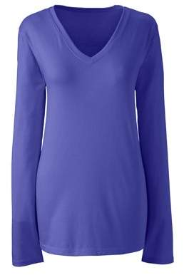 Lands' End Women's Plus Size Long Sleeve Relaxed Supima V-neck Tee