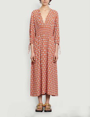 Sandro Roche graphic-print crepe maxi dress