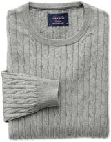 Charles Tyrwhitt Light Grey Cotton Cashmere Cable Crew Neck Cotton/cashmere Sweater Size Large