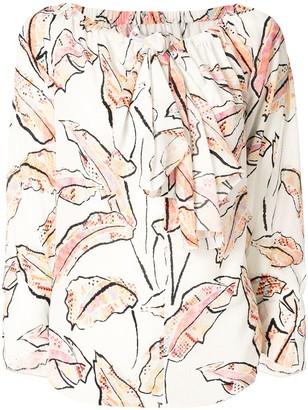 Roland Mouret Gila palm-print blouse