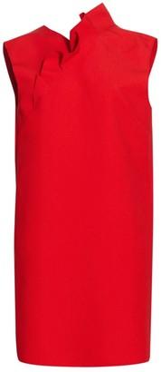MSGM Ruffle Trim Crepe Shift Dress