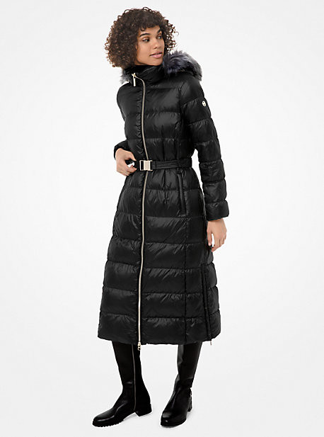 Michael Kors Faux Fur-Trim Quilted Nylon Puffer Coat