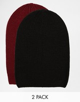 Asos Slouchy Beanie Hat 2 Pack In Black And Burgundy Save 20% - Multi