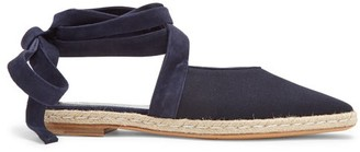 J.W.Anderson Wraparound Leather Backless Espadrilles - Womens - Navy