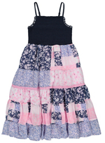George Tiered Floral Print Striped Dress