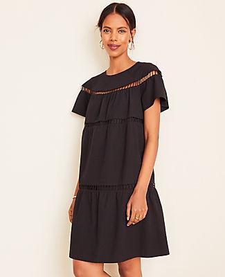 Ann Taylor Petite Dotted Cutout Pocket Dress