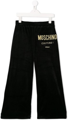 MOSCHINO BAMBINO Embroidered Logo Wide Leg Trousers