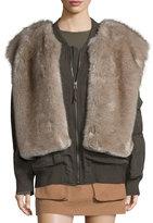 Helmut Lang Lightweight Bomber Jacket w/ Faux Fur Trim, Olive
