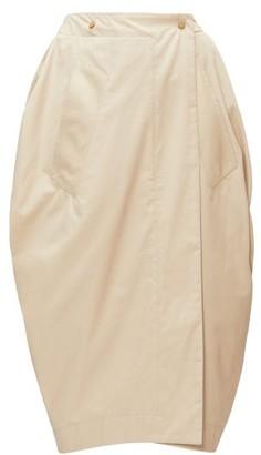 Bottega Veneta Tulip Wrap-front Cotton-blend Poplin Skirt - Womens - Beige