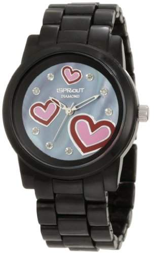 "Sprout Women's ST/5038JMBK ""Diamond & Hearts"" Black Corn Resin Watch"