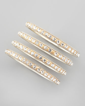 Chamak by Priya Kakkar Set of 4 Crystal Bangles, Golden