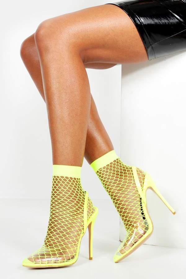 ec67d07a12c Fishnet Slingback Pointed Toe Heels