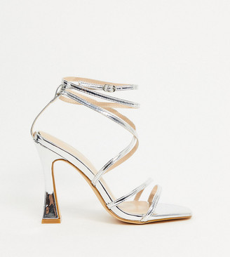 Glamorous Wide Fit square toe sandals with flared stiletto in silver mirror