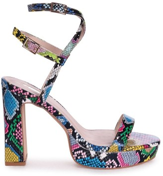 Chloé Linzi Multicoloured Snake Platform Heels With Double Crossover Ankle Straps