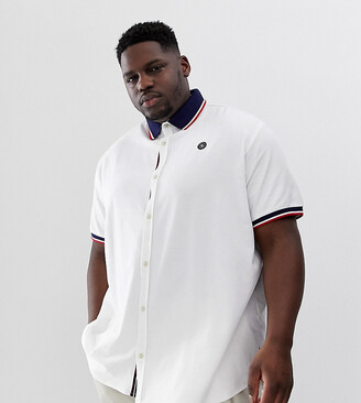 Jack and Jones Core contrast collar polo in white