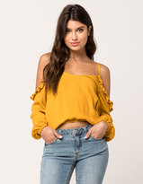 SKY AND SPARROW Ruffle Womens Cold Shoulder Top