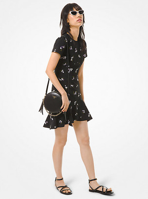 Michael Kors Floral Embroidered Crepe Flounce Dress