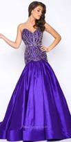 Mac Duggal Drop Waist Embellished Satin Prom Gown
