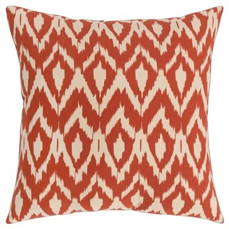 """Rizzy Home 18""""x18"""" rust ikat polyester filled pillow"""