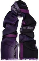 Versace Frayed Intarsia-Knit Wool Scarf