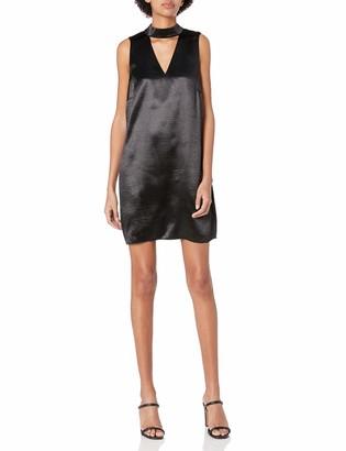Kensie Women's Crinkled Satin Gigi Neckline Dress