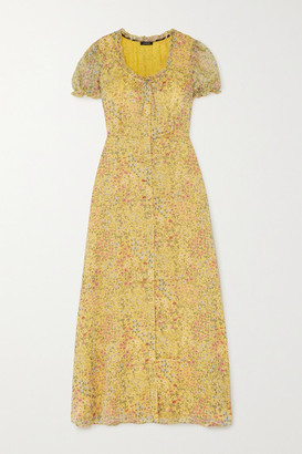 R 13 Ruffled Floral-print Fil Coupe Georgette Maxi Dress - Yellow