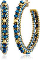 Miguel Ases Gold and Beaded Hoop Earrings