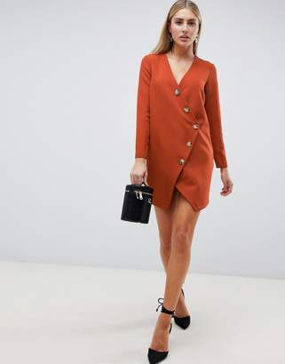 Asos Design DESIGN asymmetric button through shift mini dress with long sleeves-Red