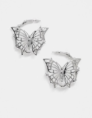 Asos Design DESIGN hoop earrings with butterfly in silver tone