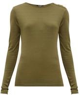 Balmain Buttoned-shoulder Long-sleeve Top - Womens - Khaki