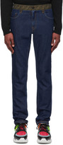 Fendi Blue Forever Contrast Waistband Jeans