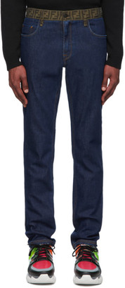 Fendi Blue Forever Contrast Waistband Jeans