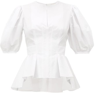 Alexander McQueen Balloon-sleeve Peplum-hem Cotton-poplin Top - Womens - White