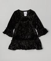 Flap Happy Black Lizzy Crushed Velvet Dress - Infant, Toddler & Girls