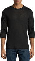 Vince Sweater-Trim Long-Sleeve Crewneck T-Shirt, Black