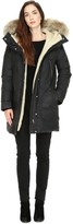 Soia & Kyo SAVANA-C A-line, mid length coat with fur hood in Black