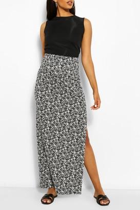 boohoo Maternity Ditsy Floral Side Split Maxi Skirt