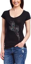 Black Feathers Embellished V-Neck Tee