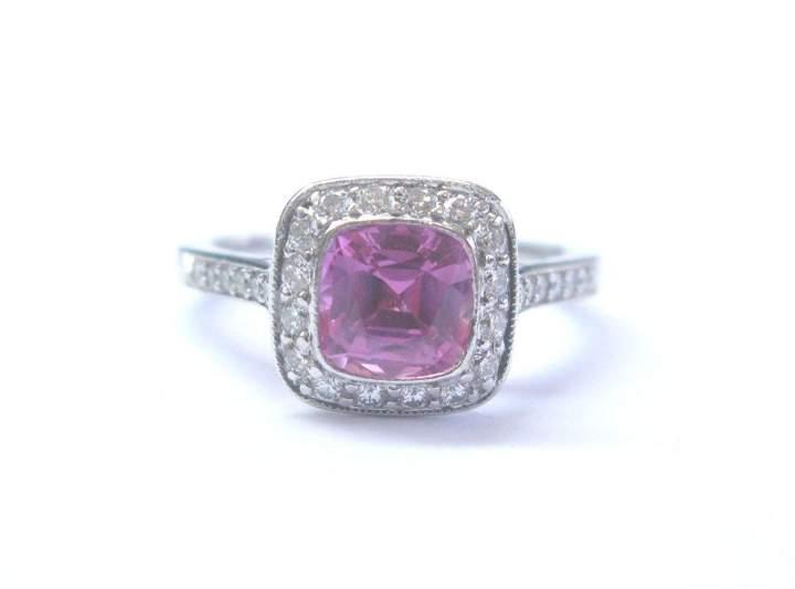 Tiffany & Co. Platinum Pink Sapphire Diamond Legacy Ring