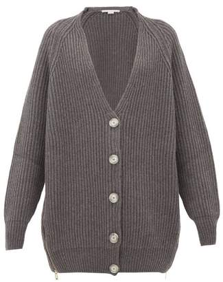 Stella McCartney Oversized Zipped-side Ribbed Wool Cardigan - Womens - Grey